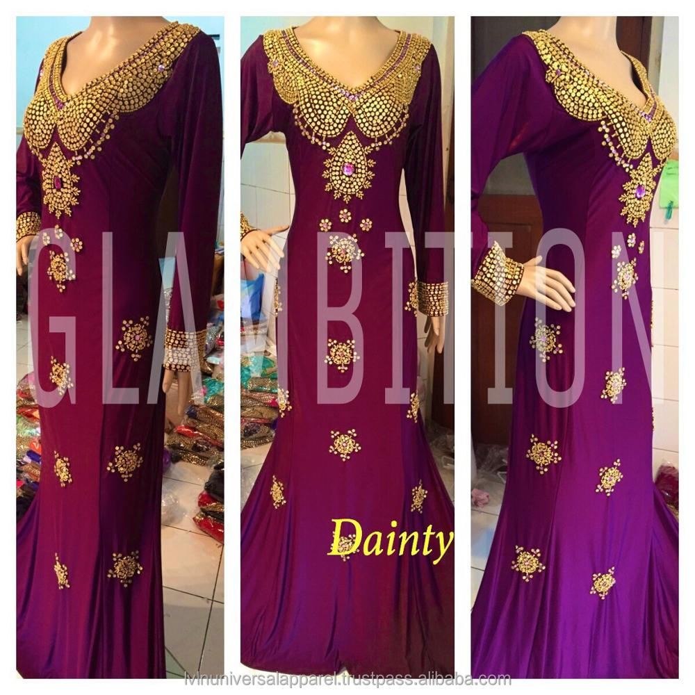 Dainty Mermaid Kaftan Gold Beads Spandex Islamic Clothing Indonesia Plus Size Collection