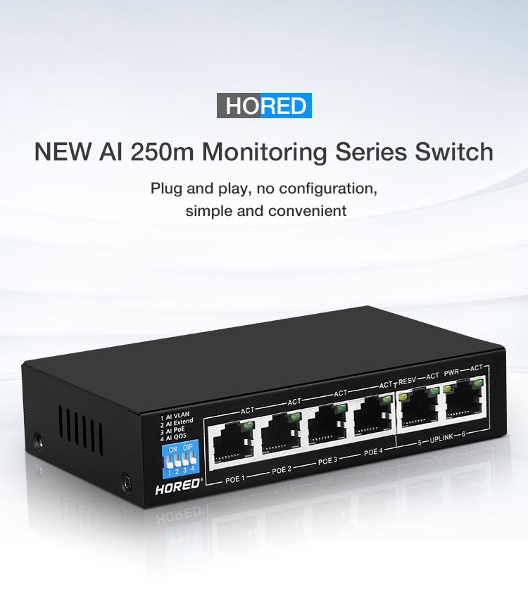 52V standard switch POE 100M fast Ethernet switch poe switch 4+2 port