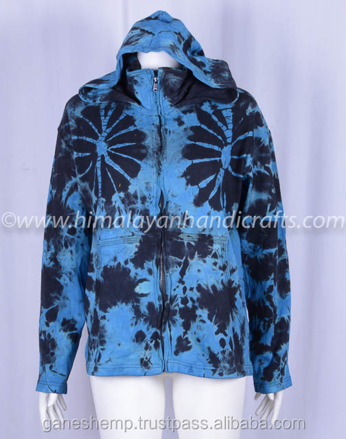 MIX COLOR STYLISH PRINT ENZYME WASH BOHEMIAN LADIES HOODIE CSWJ 466-B