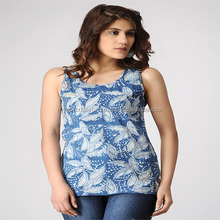 wholesale clothing Summer Indigo-Ivory Hand Block Printed Cotton Top For Girls/Women Casual Blouse Designs