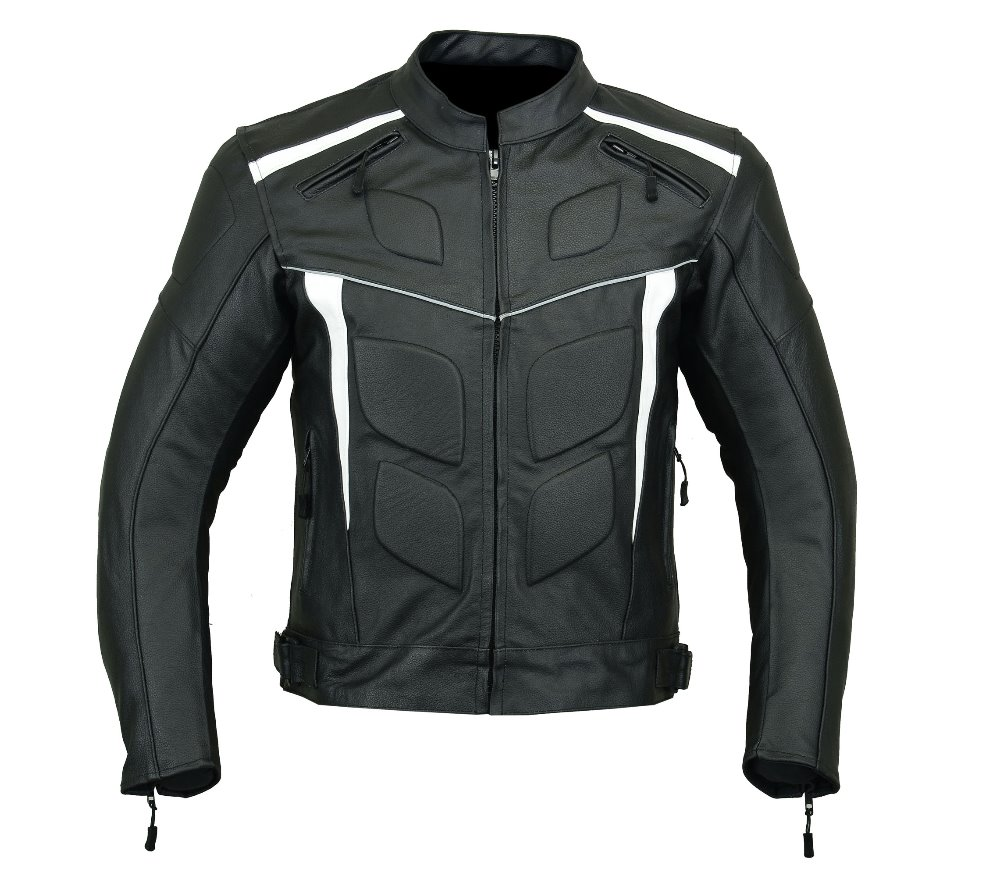 Motorcycle Leather Armord mens Jacket Black/White Speed Runner LJ-4009