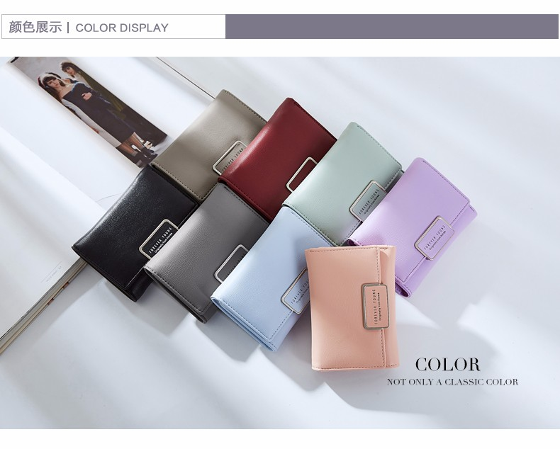 New Fashion Ladies Hand Money Purse Simple Pure Color Women Wallets