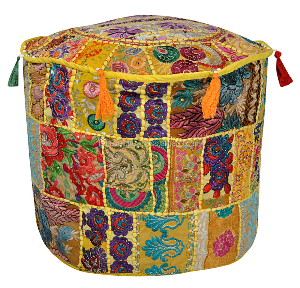ndian Traditional Home Decorative Ottoman Handmade Pouf, Comfortable Floor Yellow Cotton Cushion Ottoman Cover Work Embroidery