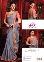 Bikaw Fashion Grey with Glazed Blue Stripes Georgette Designer Saree