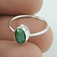 Shining green malachite gemstone silver ring Indian 925 sterling silver jewelry wholesale silver rings exporters