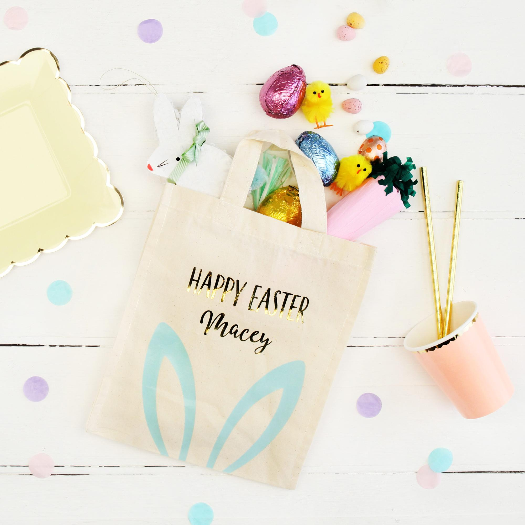 Gold foil and pastel personalised easter cotton gift bag