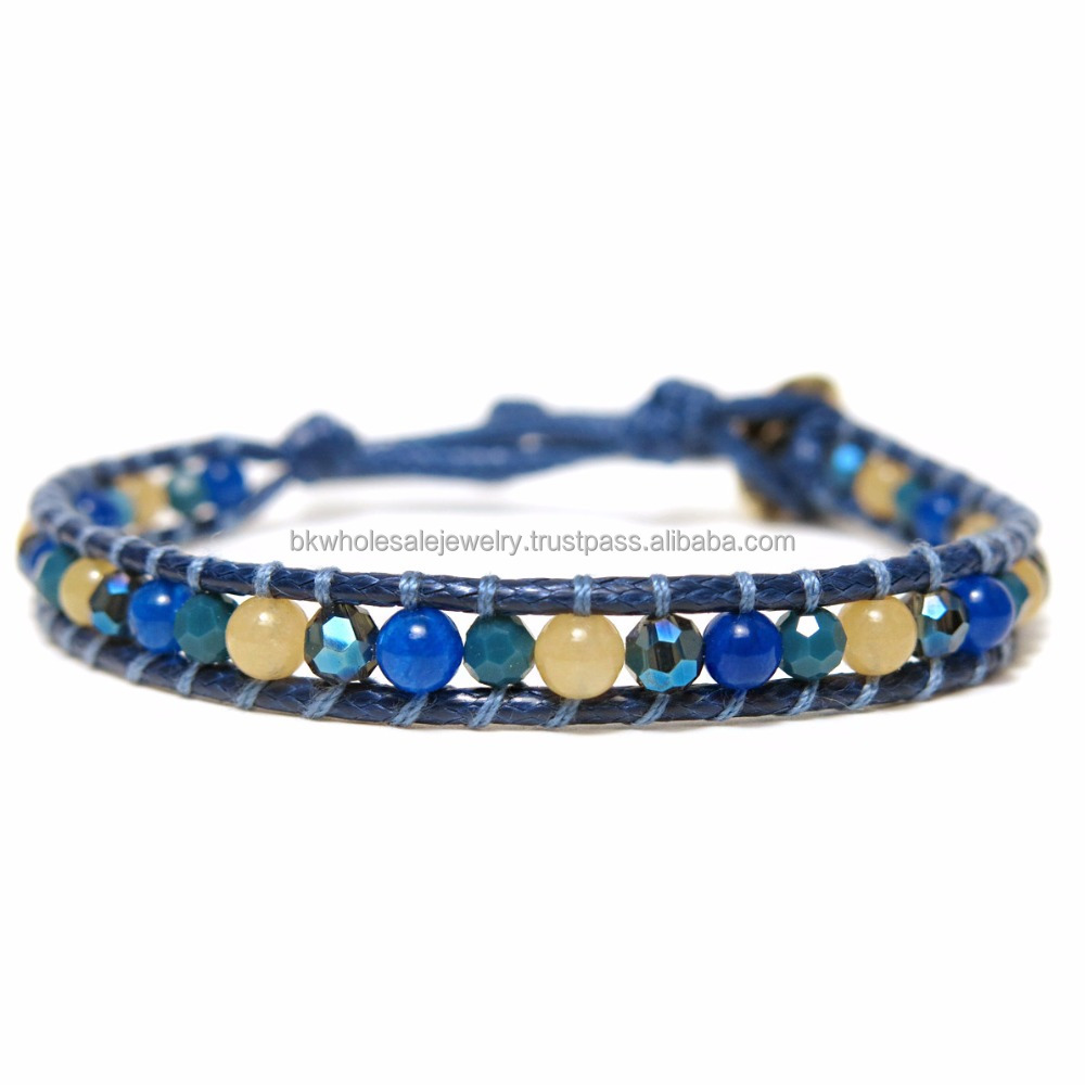 JJBR199B031 Lime Jade Blue Real Stone Bracelet Wholesale Tibetan Natural Stone Jewelry Made in THAILAND products Boho Bracelet