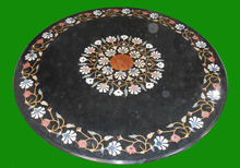 Round Marble Rare Black Stone Coffee Dining Table Top