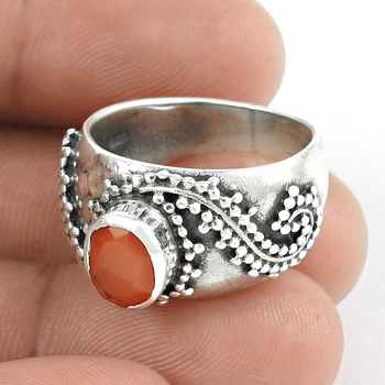 Red carnelian gemstone ring 925 sterling silver handmade jewelry wholesale prices silver rings suppliers