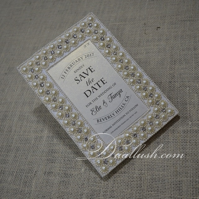 Save The Date Cards Pearl Silk Embroidery Save The Date Magnets