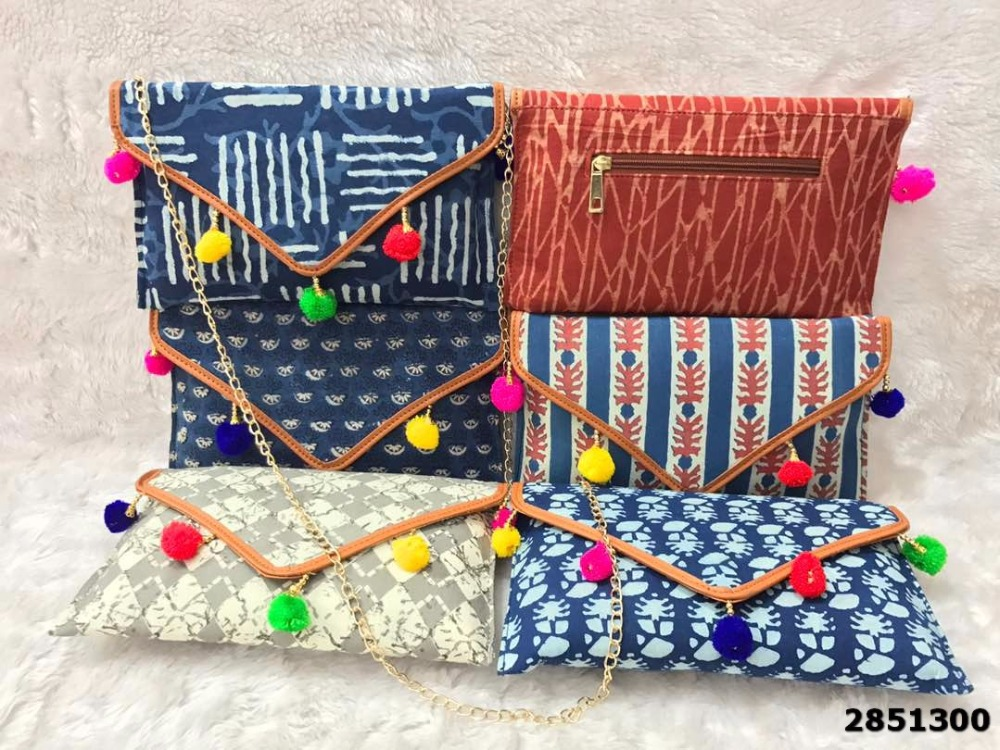 Elegant Ikat Print Clutch Bag