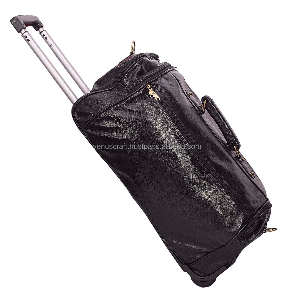 Real leather hand made leather travel luggage trolly bag for business trip