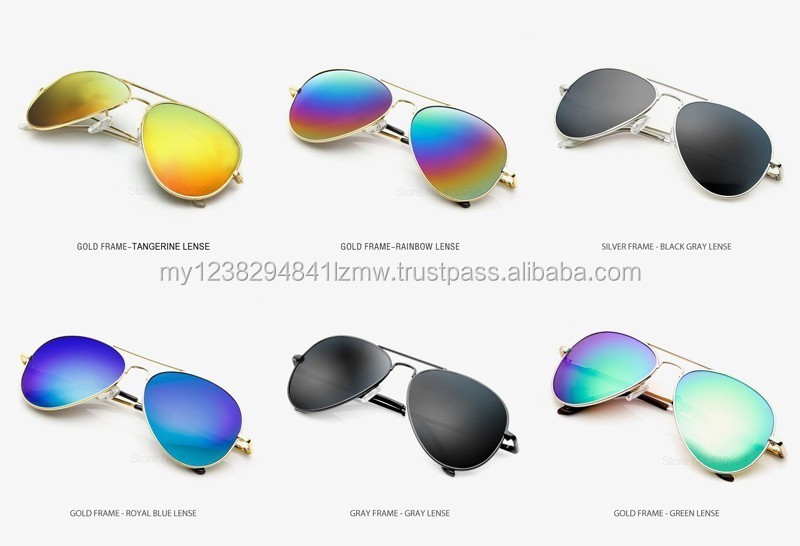 Aviator sunglasses women men colourful style fashion acrylic mirror lense stainless frame