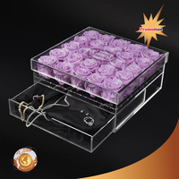 Top acrylic product Black 36 FlowersAcrylic flower Box For Rose plexiglass rose flower box