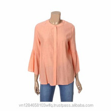 Best selling latest design wholesale casual long sleeve pink chiffon women blouse for summer
