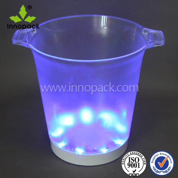 Plastic ice bucket with LED light