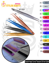 Angel Curved eyelash tweezers amazing Colors , Titanium Colors From Stylish Beauty Industry