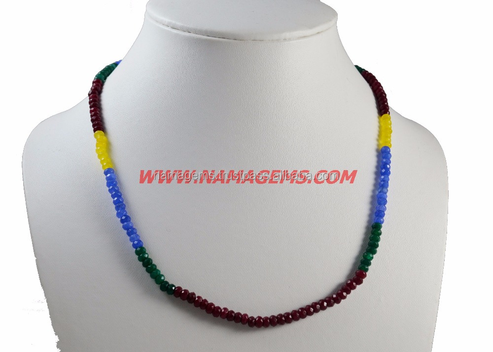 Semi Precious Gemstone 4 MM Approx Rondelle Faceted Loose Beads Multi Jade 18 Inches Ready Necklace