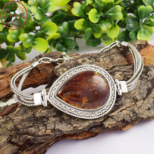 Newest fashion amber gemstone bracelet 925 sterling indian silver bracelet jewelry wholesale