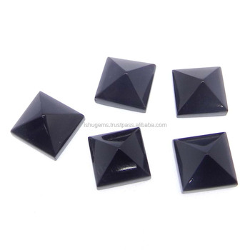 Black onyx semi precious 10x10mm square cut cab 4.5 cts loose gemstone for jewelry