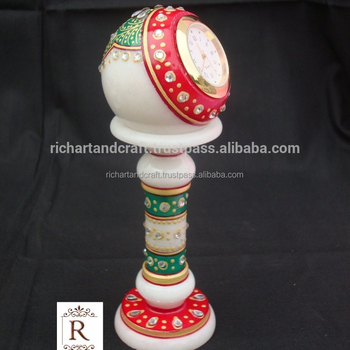 Indian Marble Piller Watch Clock Handicraft Gift Decor Handmade Jaipur Rajasthan christmas gift