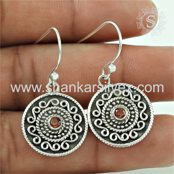 Best bridal jewellery red garnet gemstone round earring 925 sterling silver jewelry wholesale
