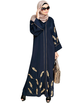 Dubai Wholesale Beautiful Abaya Floral Embroidered Abaya Muslim Dress