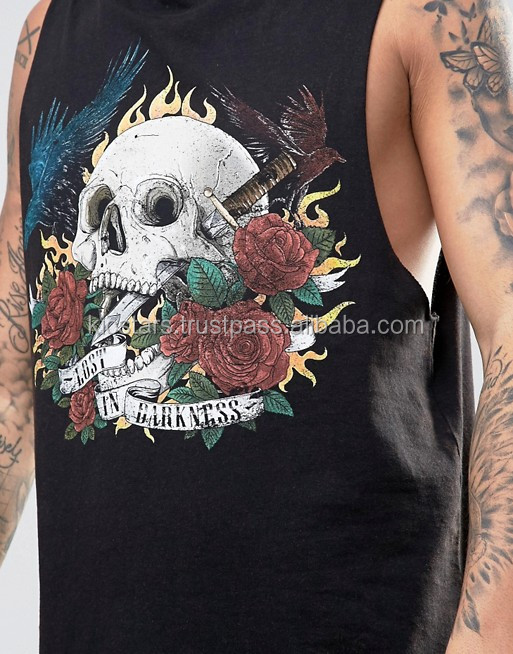 sleeve less men solid black front custom printed t shirt for sale