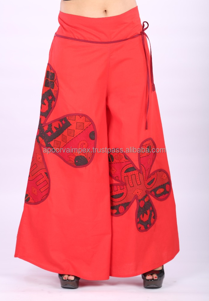 Indian Cotton palazzo pants Solid Dyed Casual Trousers