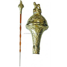 Drum Major Mace Full Gold Embossed Head with Lion and Crown