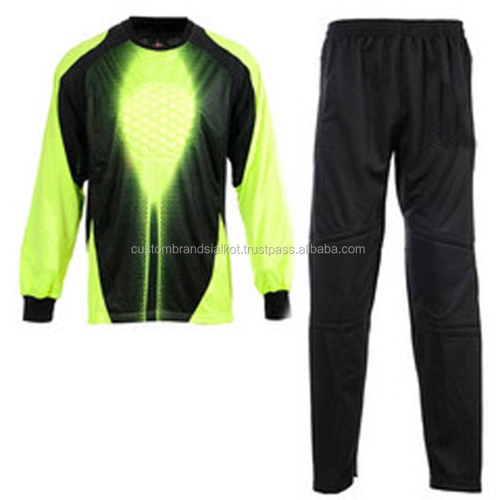 Men's Goal Keeper Goalie Padded Long Pants Jersey Shirts Tops Set
