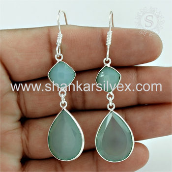 Lovable design chalcedony gemstone dangle earring 925 sterling silver jewelry online wholesaler