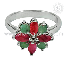 Hot creative design ruby, emerald ring gemstone handmade 925 sterling silver wholesale jewelry attract rings