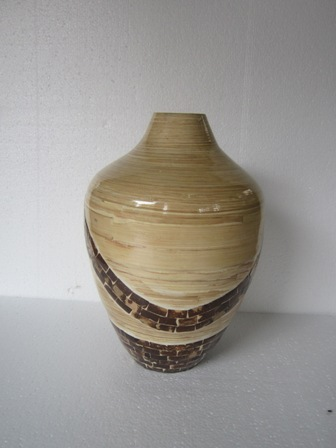 Set of 2 nice bamboo vase inlaid with coco-shell from Hanoi, Vietnam leading manufacturer