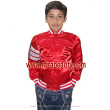 Kids Red Satin Varsity Jackets, Custom Embroidery Satin Baseball Jackets, Children Bomber Jackets