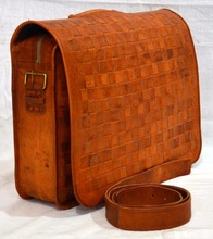 Indian Hand Made Brown Color Unique Travel Hide Briefcase Messenger Leather Bag Le 281