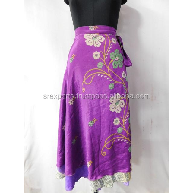 Indian Wraparound Skirt Sarong Purple One Size Beach Wear Boho Chic