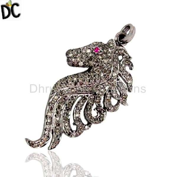 Natural Ruby and Pave Set Diamond Finding 925 Silver SEA Horse Charm Pendant Indian Jewelry Supplier