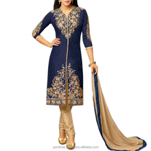 Art Silk Navy Blue Stone Work Two in One Salwar Suit