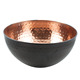 Salad Bowl with Inside Copper Color and Outside Black Color with Hammered