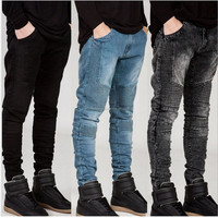 Distressed Denim Pant - 2017-Fashion-font-b-Distressed-denim-pant-biker-panel-font-Black-font-b-Ripped-b-font-font-b-Jeans men