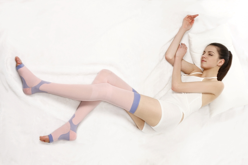 OEM Taiwan produced thigh high sleeping stocking slimmer at night