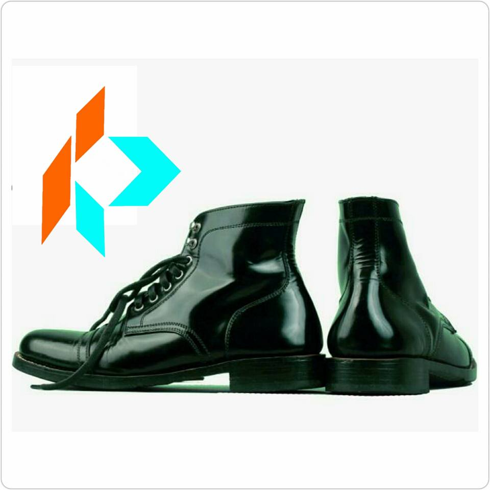 Best Quality Handmade Glossy Black Derby Captoe Men Genuine Leather Dress Boots Style MY-90718
