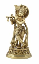 Hindu Gods lord Krishna standing with Cow statue pooja religious decor 10""