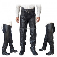 GENUINE BLACK LEATHER MOTORCYCLE CHAPS FOR BIKERS
