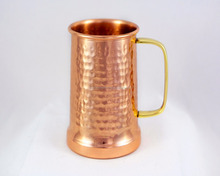 HAMMERED COPPER BEER STEIN MOSCOW MULE MUG WITH BRASS HANDLE