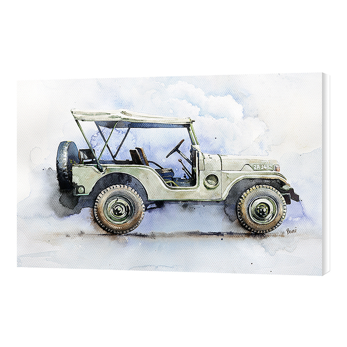 Malaysia Print Jeep Vehicle Watercolor Printed on High Grade Cotton Canvas