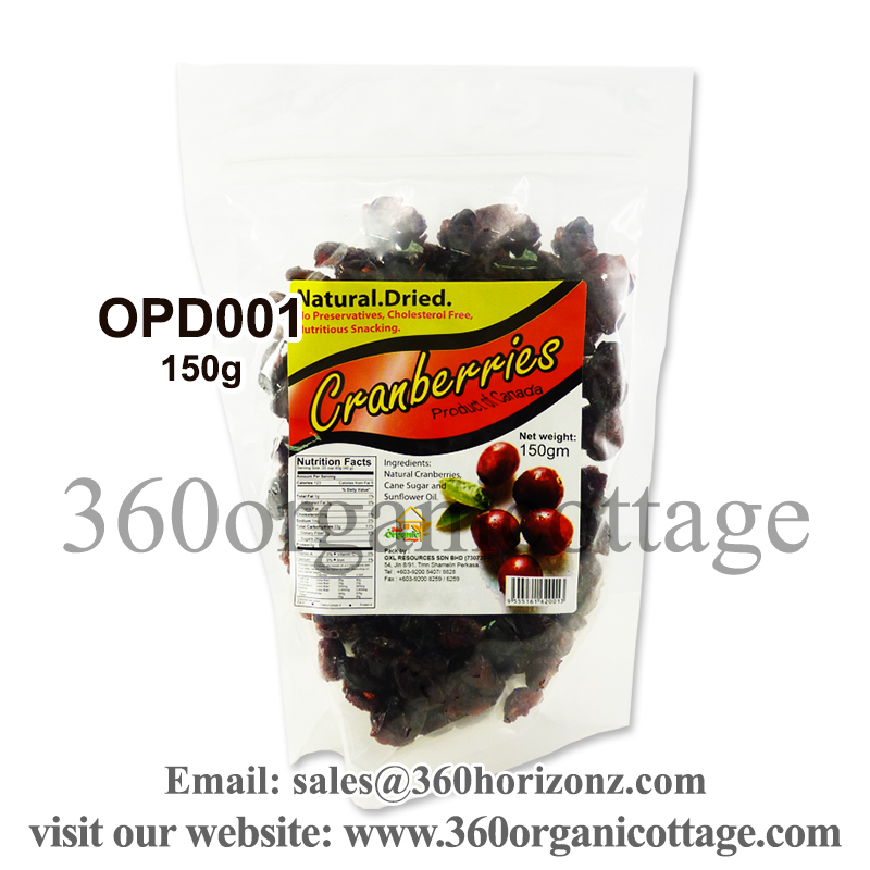 150g 360 Organic Cottage Natural Dried Cranberries