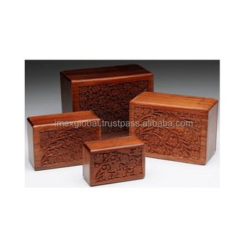 HUMAN PET ASHES ANTIQUE CREMATION WOODEN URN S/4