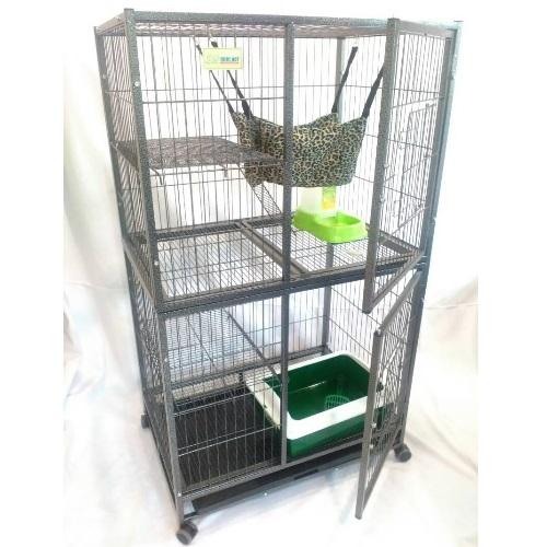 2 Level Big Portable Cat Cage with 4 Wheels